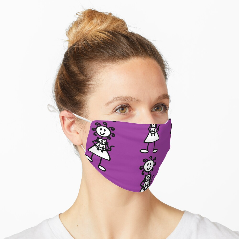 The girl with the curly hair - dark purple Mask