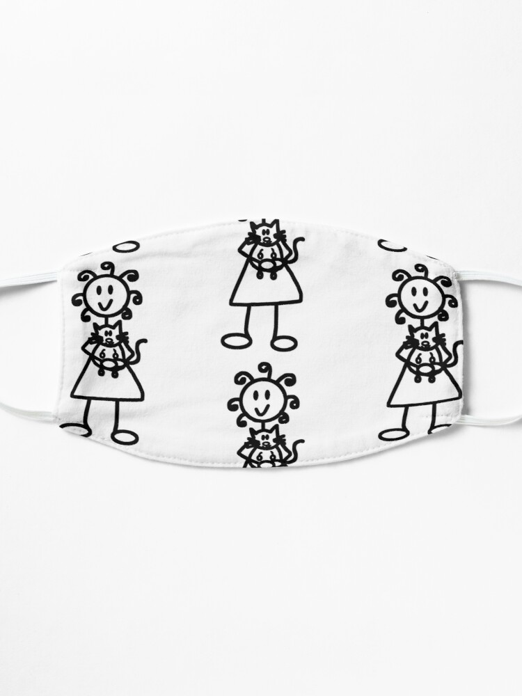 Alternate view of The Girl with the Curly Hair Holding Cat - White Mask
