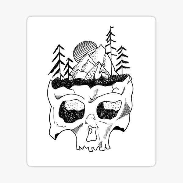 Cool Black White Skull Lineart  Sticker