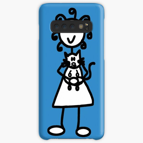 The Girl with the Curly Hair Holding Cat - Blue Samsung Galaxy Snap Case