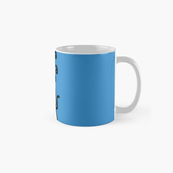 The Girl with the Curly Hair Holding Cat - Blue Classic Mug