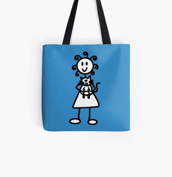 The Girl with the Curly Hair Holding Cat - Blue All Over Print Tote Bag