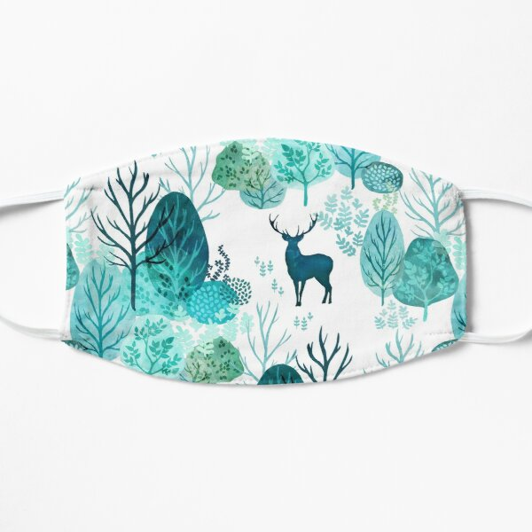 Emerald forest deer on white Mask