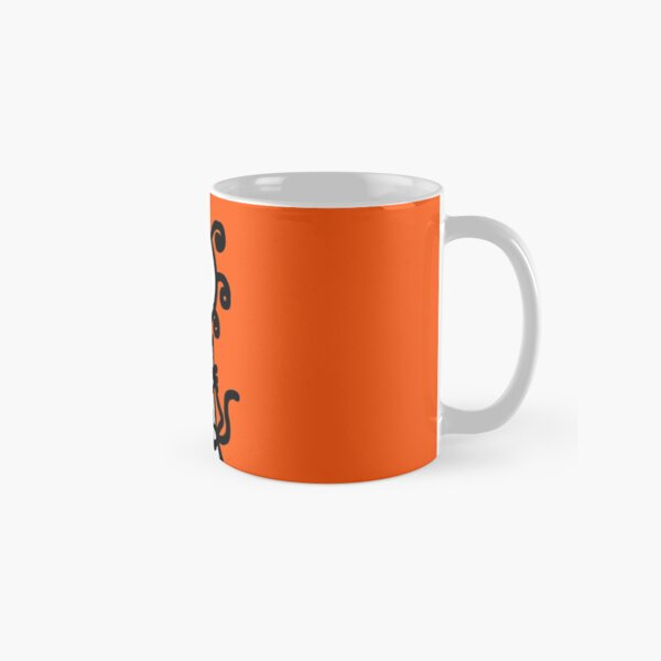 The Girl with the Curly Hair Holding Cat - Orange Classic Mug
