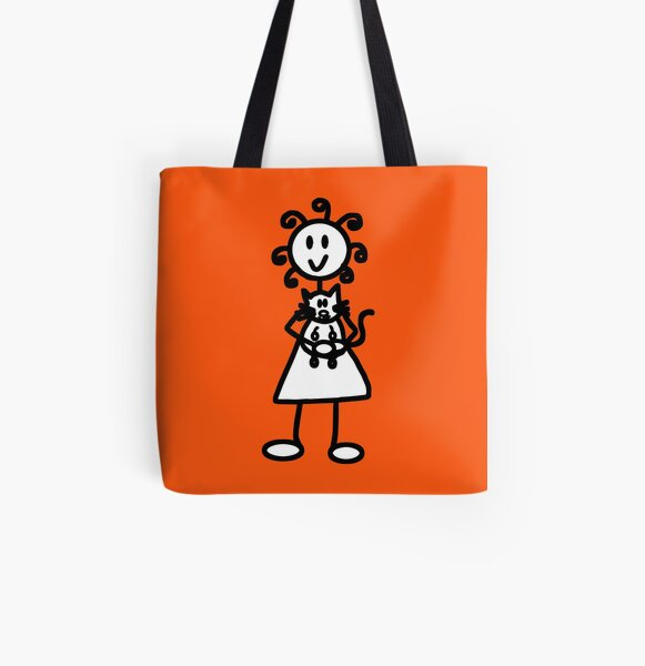 The Girl with the Curly Hair Holding Cat - Orange All Over Print Tote Bag