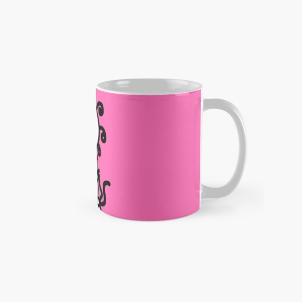 The Girl with the Curly Hair Holding Cat - Pink Classic Mug