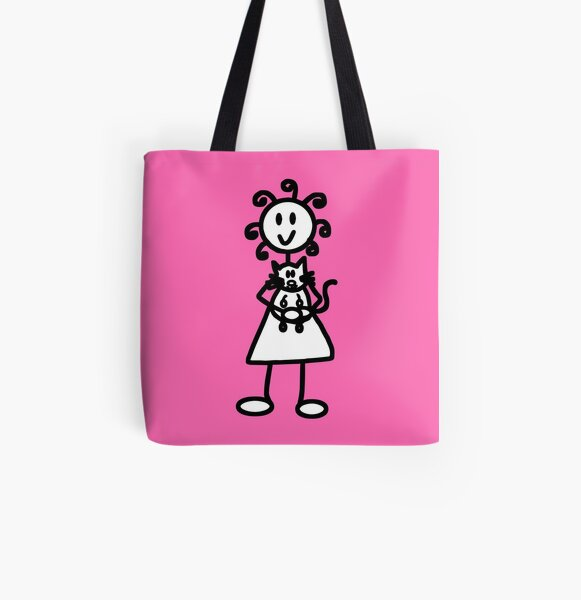 The Girl with the Curly Hair Holding Cat - Pink All Over Print Tote Bag