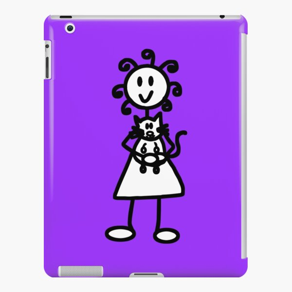The Girl with the Curly Hair Holding Cat - Light Purple iPad Snap Case