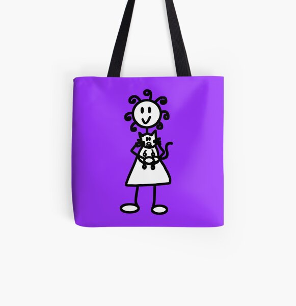 The Girl with the Curly Hair Holding Cat - Light Purple All Over Print Tote Bag