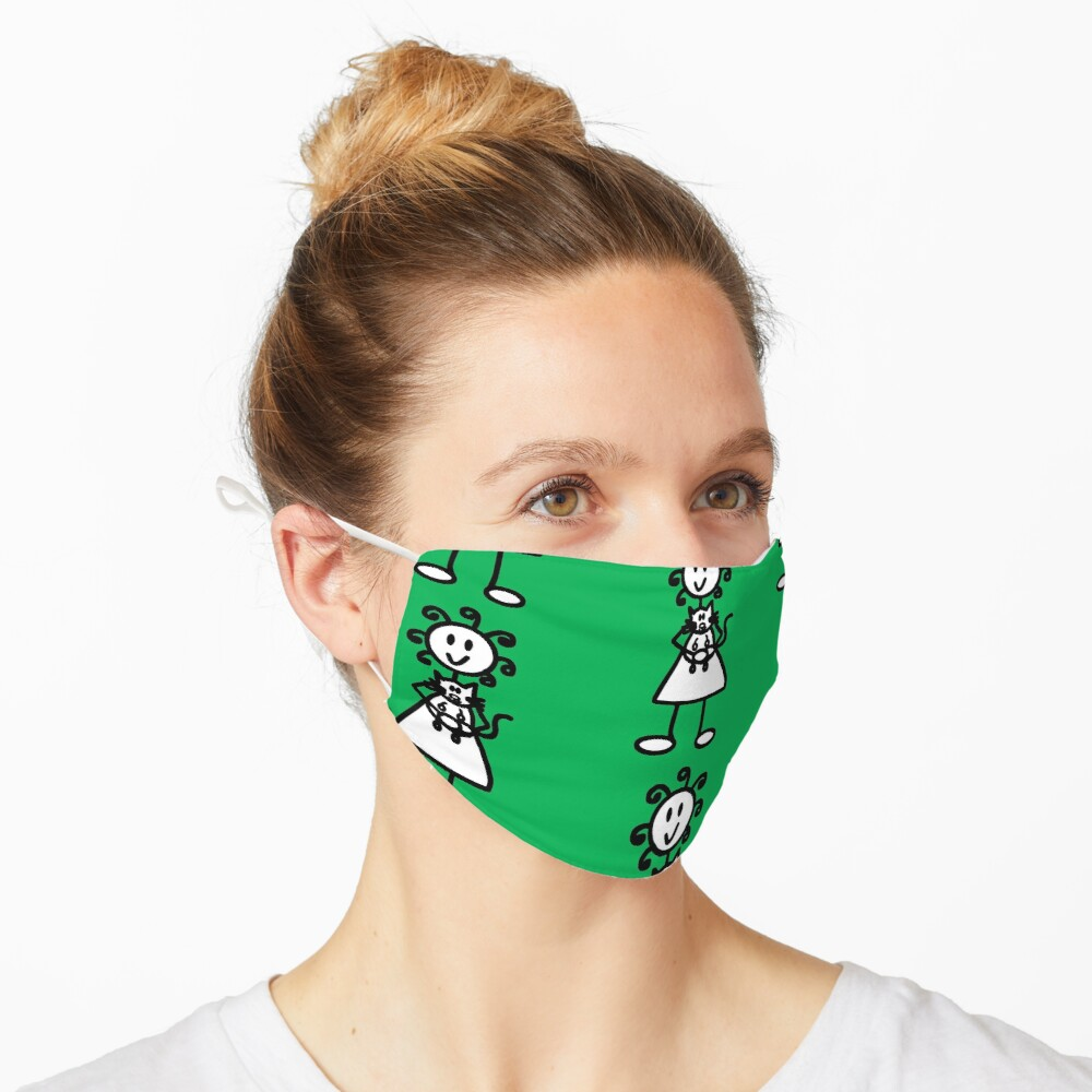 The Girl with the Curly Hair Holding Cat - Green Mask