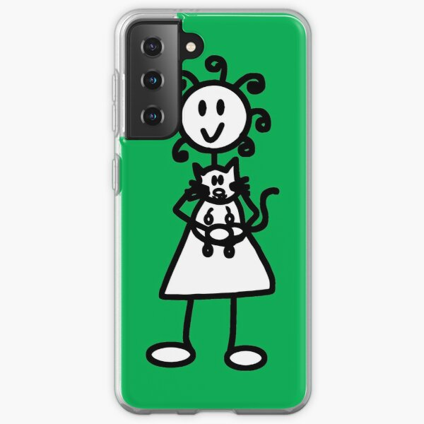 The Girl with the Curly Hair Holding Cat - Green Samsung Galaxy Soft Case