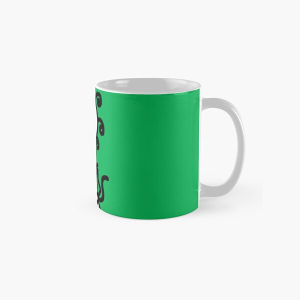 The Girl with the Curly Hair Holding Cat - Green Classic Mug