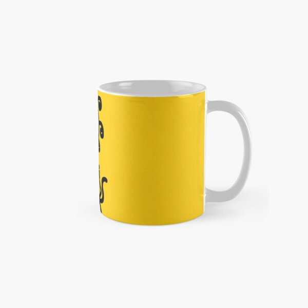 The Girl with the Curly Hair Holding Cat - Yellow Classic Mug