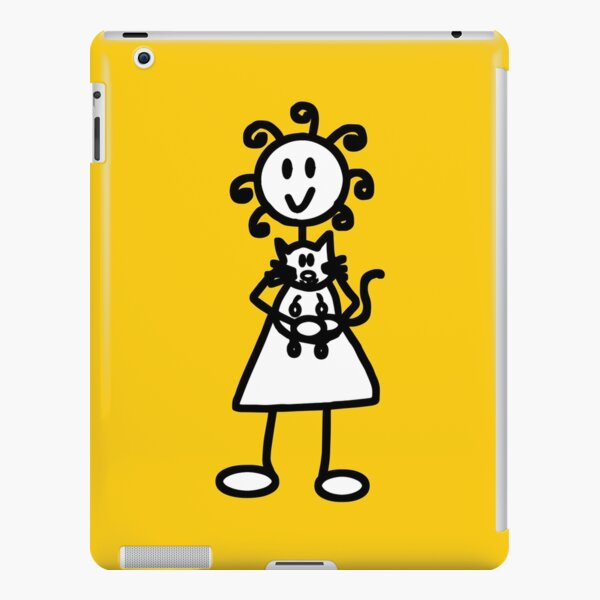 The Girl with the Curly Hair Holding Cat - Yellow iPad Snap Case