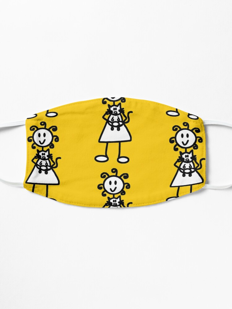 Alternate view of The Girl with the Curly Hair Holding Cat - Yellow Mask