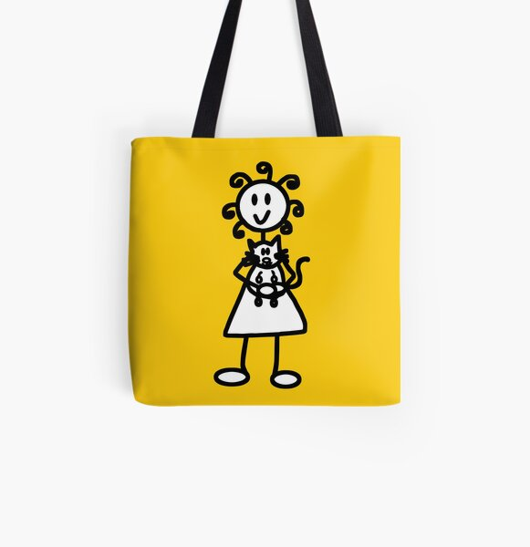 The Girl with the Curly Hair Holding Cat - Yellow All Over Print Tote Bag