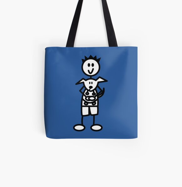The boy with the spiky hair - mid blue All Over Print Tote Bag