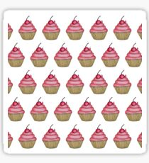 Cute Pink Cupcake with Cherry on Top Sticker