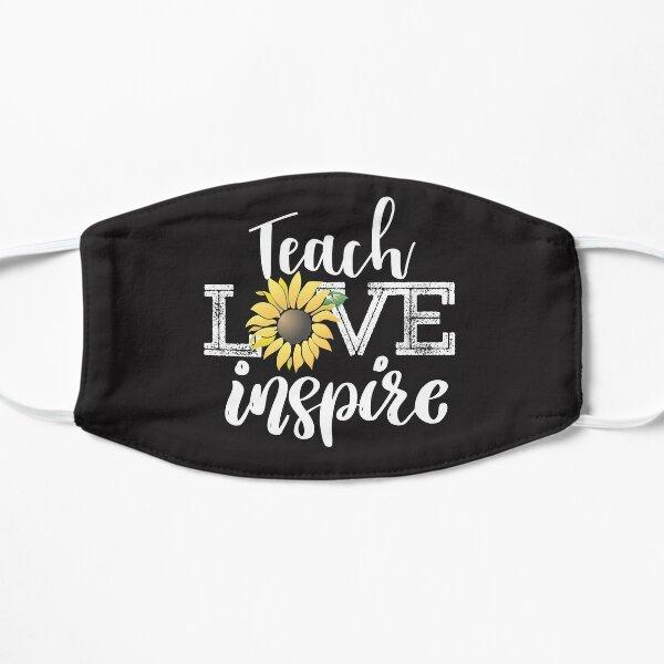 Teach Love Inspire Teacher sunflower cute retro inspirational quote gift Flat Mask