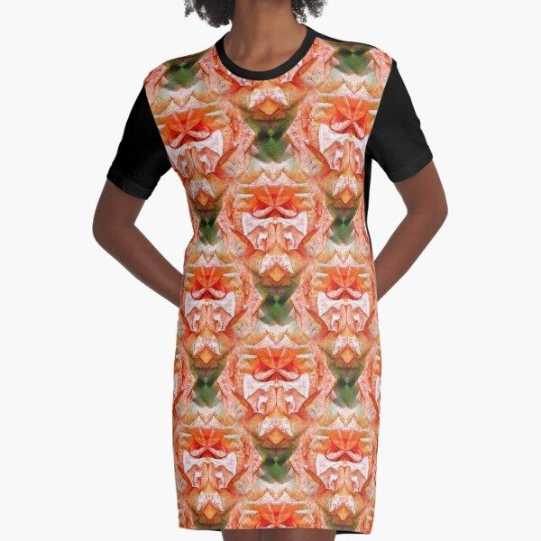 Abstract Peach Rose Flower Graphic T-Shirt Dress