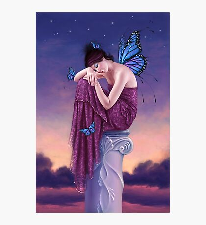 Sunset Blue Monarch Butterfly Fairy Photographic Print