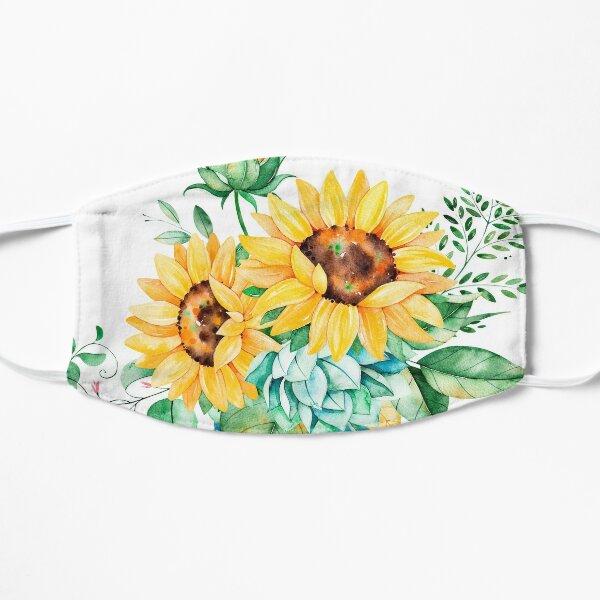Sunflowers, Mason jar, sunflower bouquet, watercolor, watercolor sunflowers Flat Mask