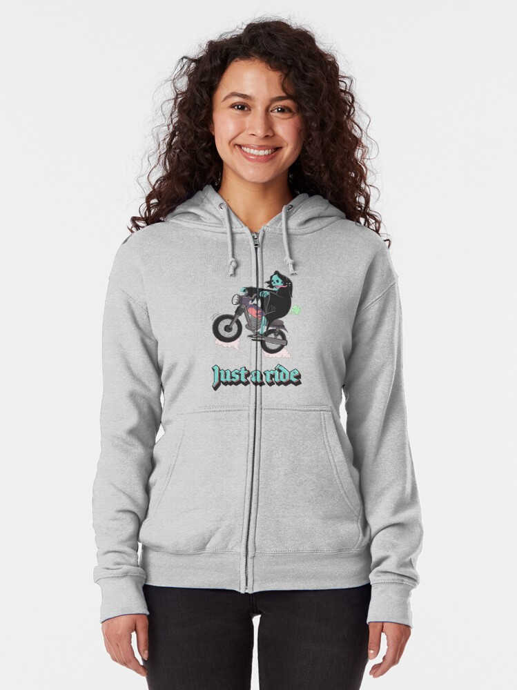 Alternate view of Just a ride Zipped Hoodie