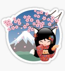 Japanese Kitsune Kokeshi Doll Sticker