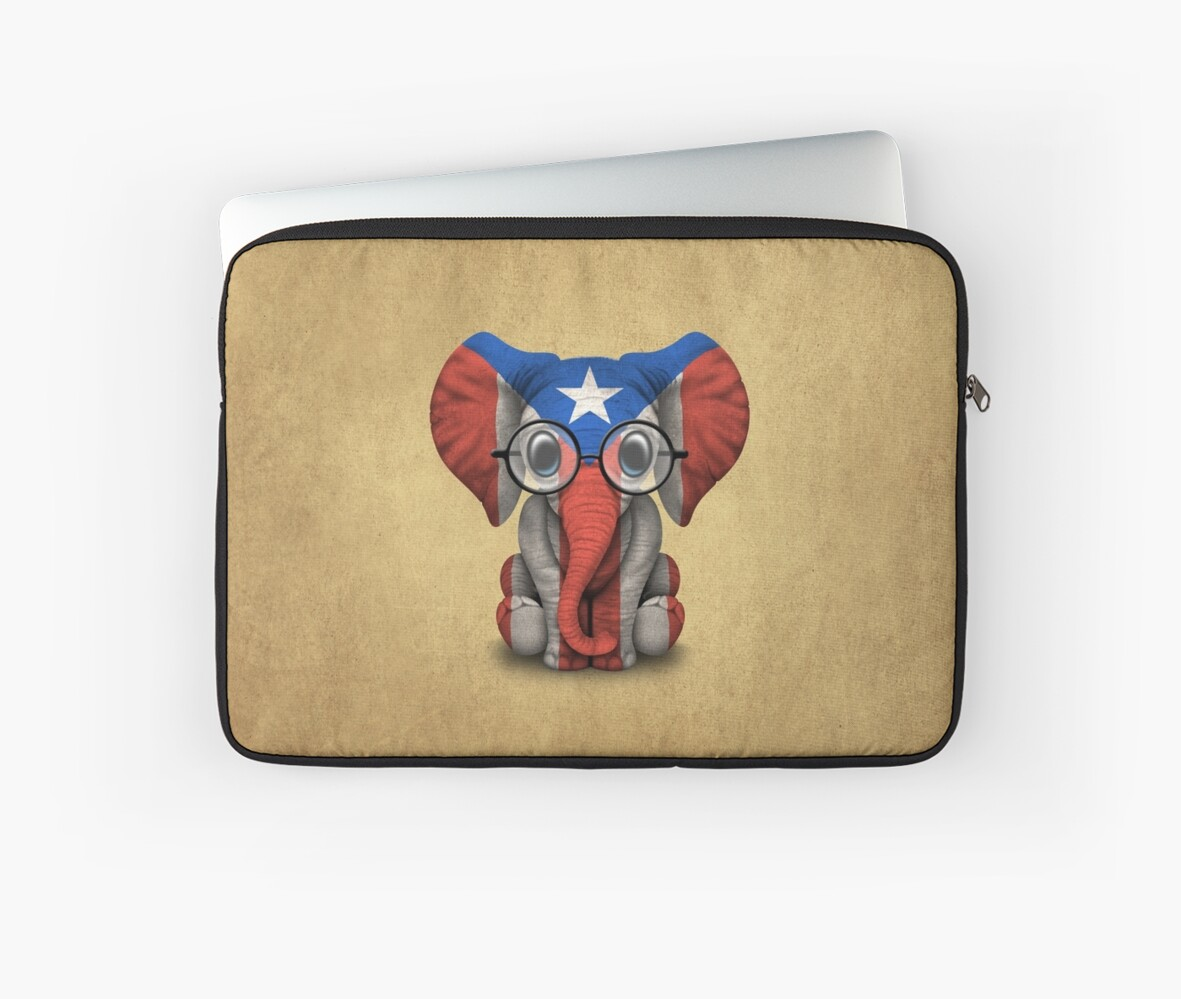 Baby Elephant with Glasses and Puerto Rican Flag\