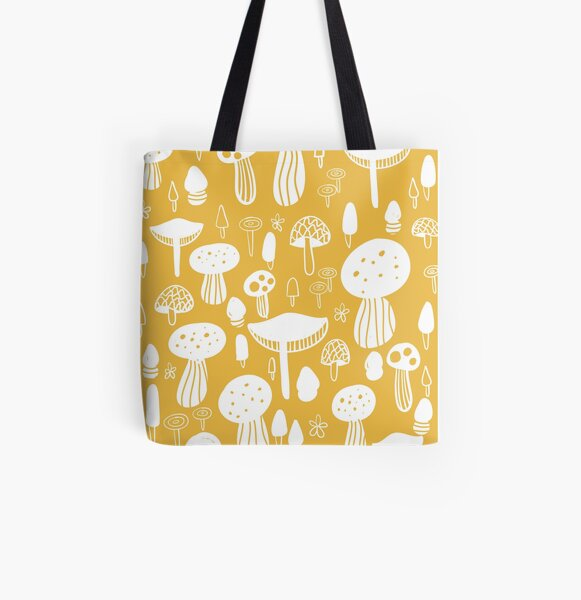 Forest Mushrooms Yellow print All Over Print Tote Bag