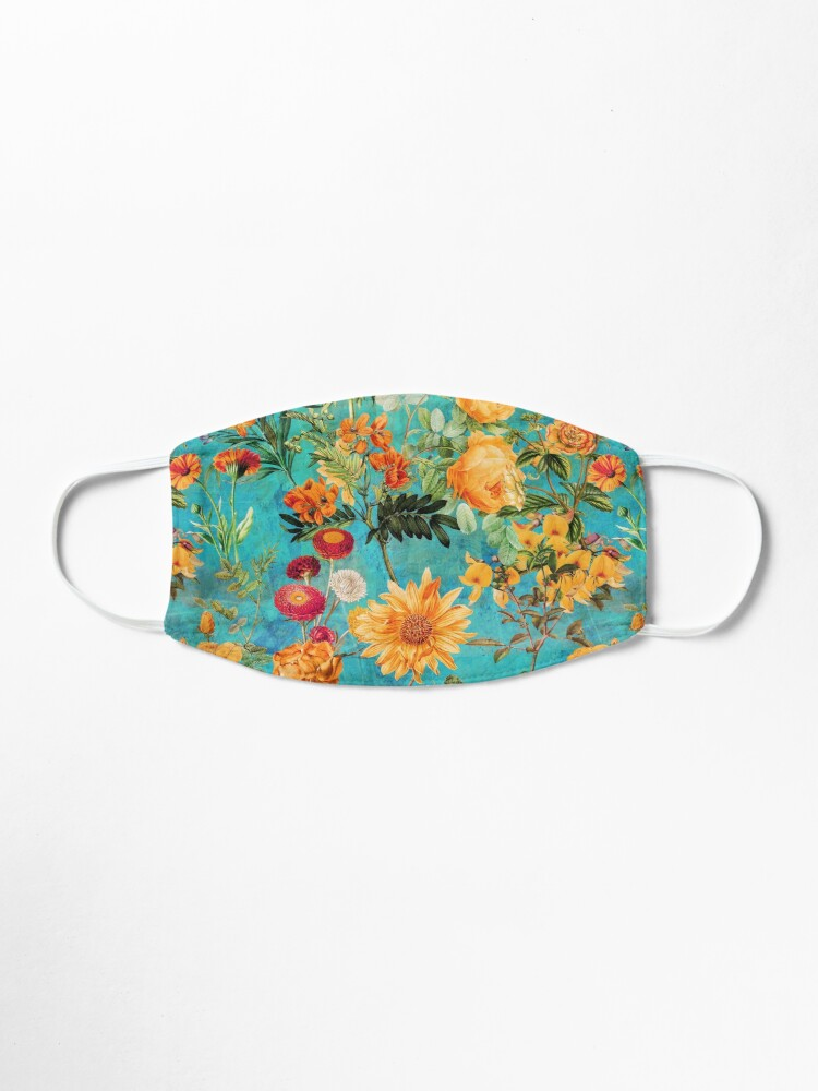 Alternate view of Turquoise Vintage Botanical Summer Garden Mask