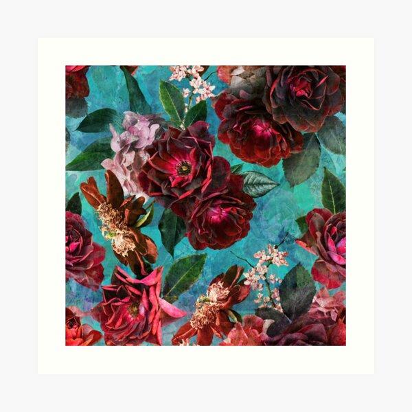 Turquoise Vintage Summer Roses Garden  Art Print