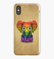 Baby Elephant with Glasses and Gay Pride Rainbow Flag iPhone Case