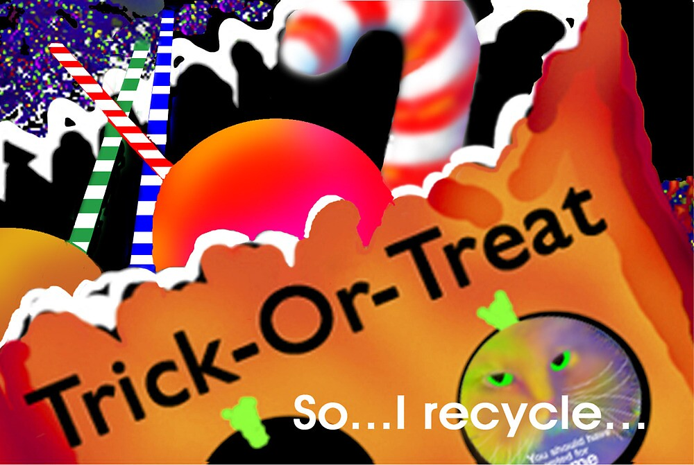 'So I Recycle' A Boo Cat Christmas, Greeting Card or Small Print by luvapples downunder/ Norval Arbogast