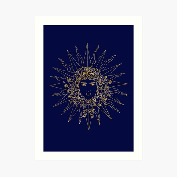 Sun amblem blue/gold. Art Print