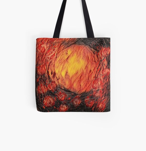 Poppy Circle 12 designed and created by (c) Janet Watson Art All Over Print Tote Bag