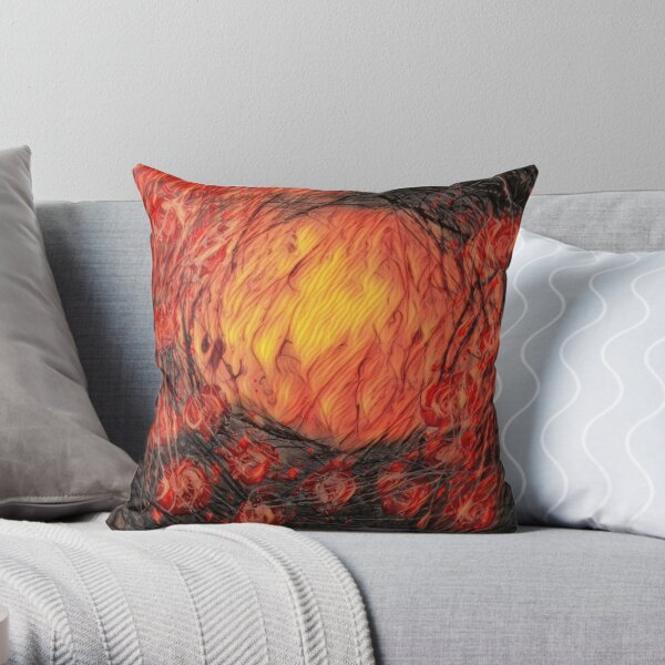 Poppy Circle 12 designed and created by (c) Janet Watson Art Throw Pillow
