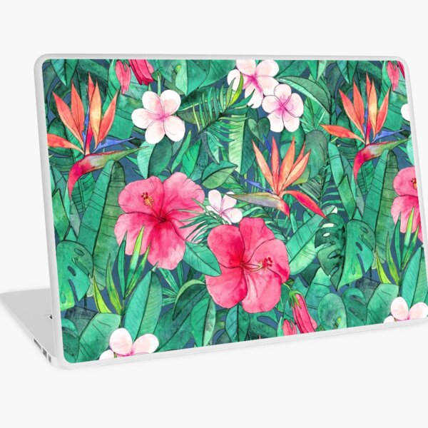 Classic Tropical Garden with Pink Flowers Laptop Skin