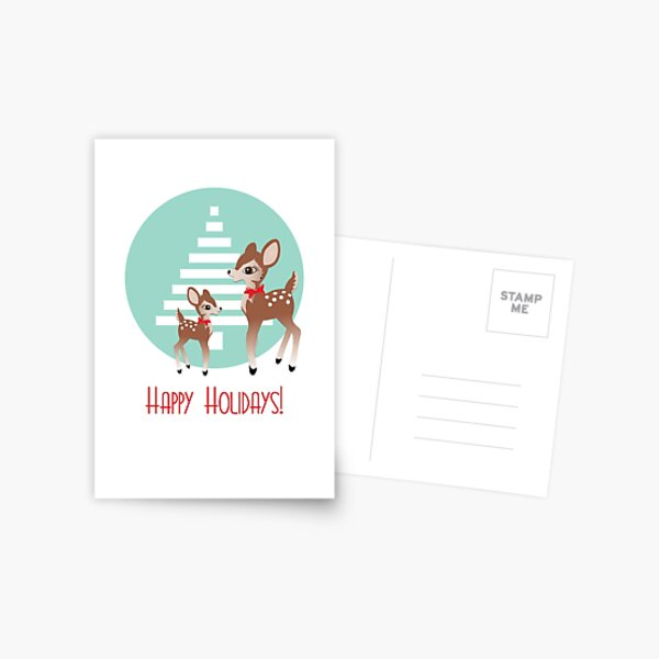 Vintage Holiday Deer Postcard