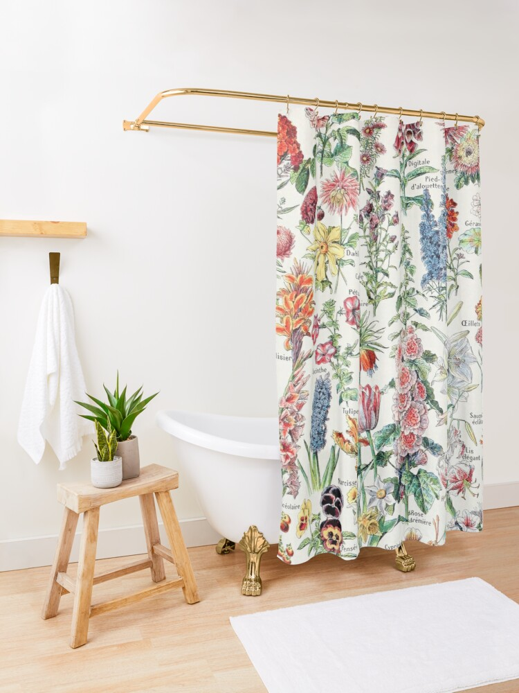 Alternate view of Adolphe Millot - Fleurs pour tous - French vintage poster Shower Curtain