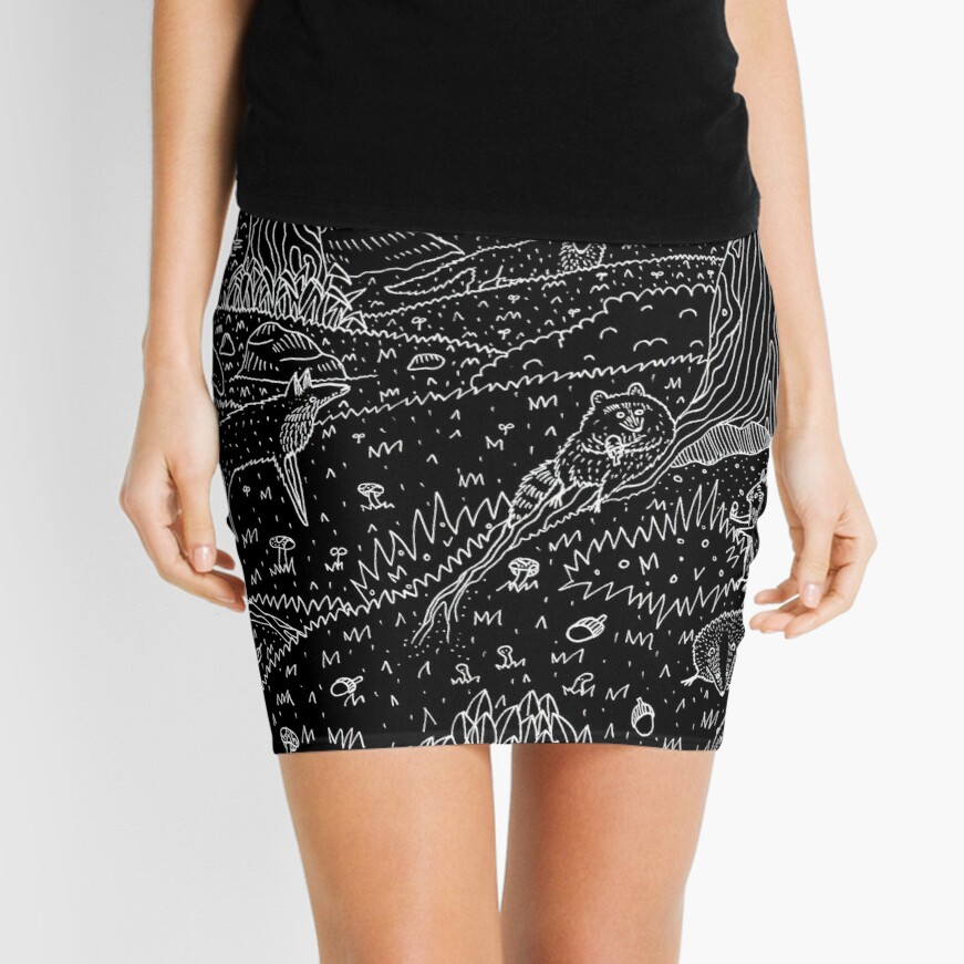 Nocturnal Animals of the Forest Mini Skirt
