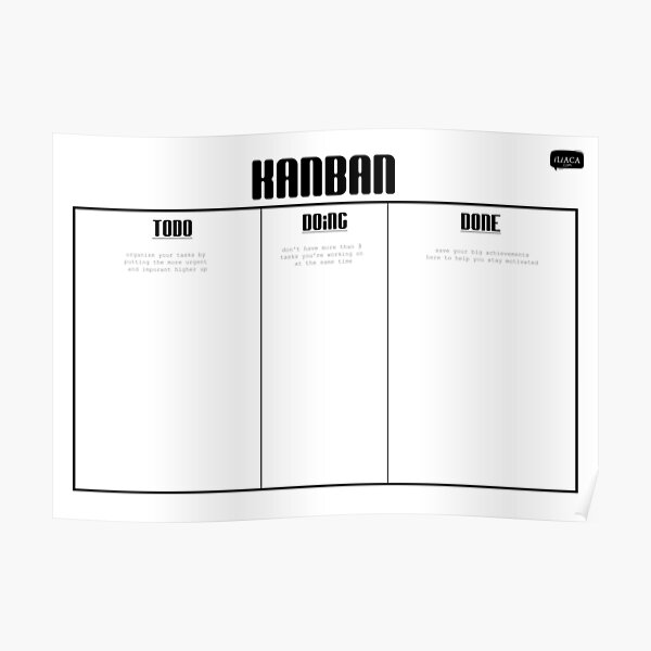 Kanban Board in Black and White Poster