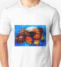 Pacific Ocean Shells On Blue  Unisex T-Shirt