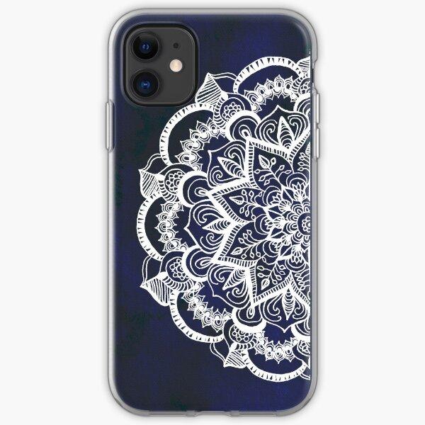 White Feather Mandala on Navy iPhone Soft Case