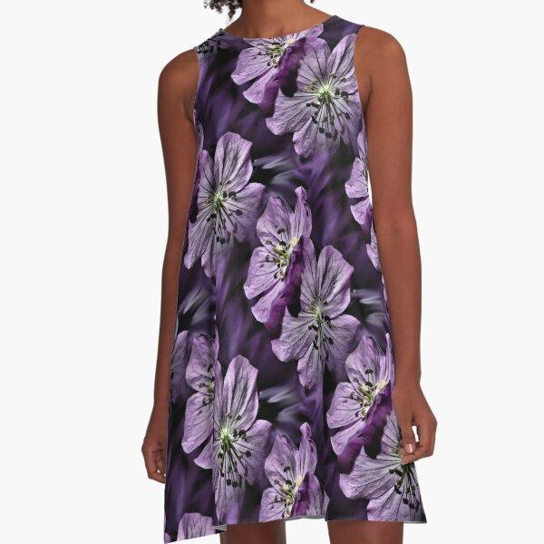 Pretty Purple Flowers Art A-Line Dress