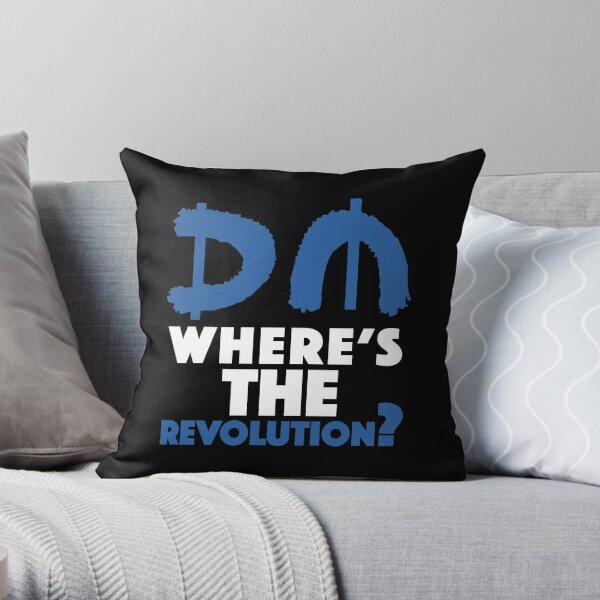 Where's The Revolution? Blue Throw Pillow