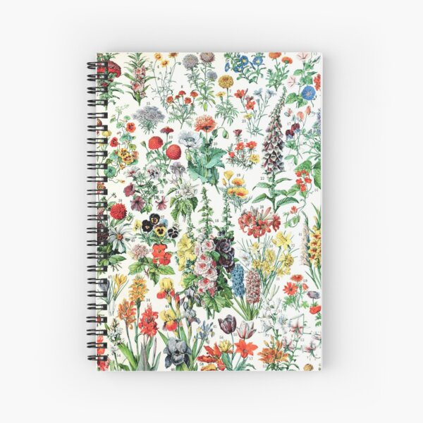 Adolphe Millot - Fleurs A - French vintage poster Spiral Notebook