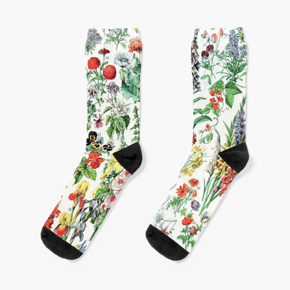 Adolphe Millot - Fleurs A - French vintage poster Socks