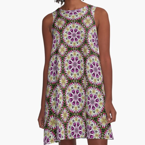 Dahlia Flower Power Abstract A-Line Dress