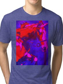 Pony In Neon Pink and Blue Tri-blend T-Shirt